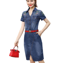 Denim Dresses Women 2018 Summer New Vintage Floral Embroidered Shirt Dress Womens Buttons Slit Casual Jeans Dresses with Belt