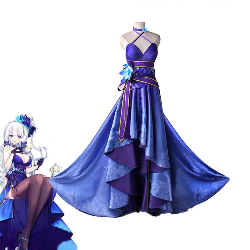 New Game Azur Lane Illustrious Cosplay Costume Never Ended Tea Meeting Blue Full Dresses Halloween Carnival Uniforms Custom Made