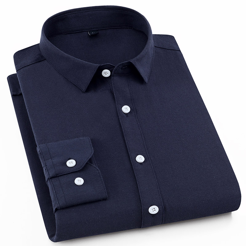 Aoliwen Solid color oxford long sleeve men brand shirt White blue navy blue High quality business smart casual shirts 60 cotton in Casual Shirts from Men 39 s Clothing