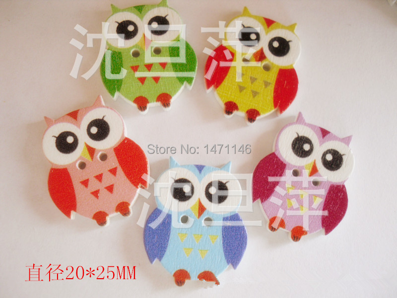 50PCS2-Holes Owl button 2Eco-Friendlylovelly and cutechildren gifts