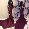 Burgundy Evening Dresses 2017 Prom Pageant Formal Party Gown With Mermaid High Neck Zipper Back Appliqued Lace Chapel Train