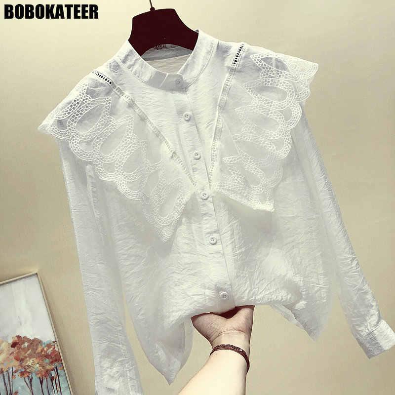 18013f170ec Белая кружевная блузка Для женщин рубашка женская рубашка с длинными  рукавами Для женщин s Топы и