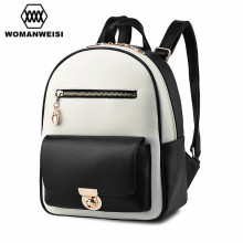 Japan and Korean Style Fashion Brand White Black PU Leather Splice Backpack Women School Bags For