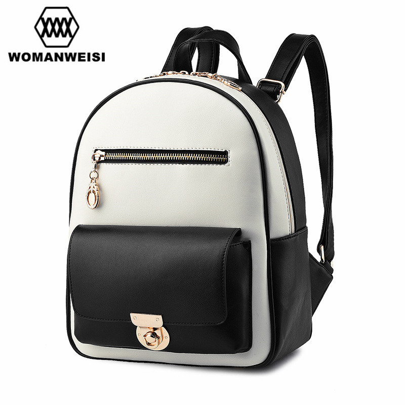Japan and Korean Style Fashion Brand White Black PU Leather Splice Backpack Women School Bags For Teenagers Female Rucksack 2017