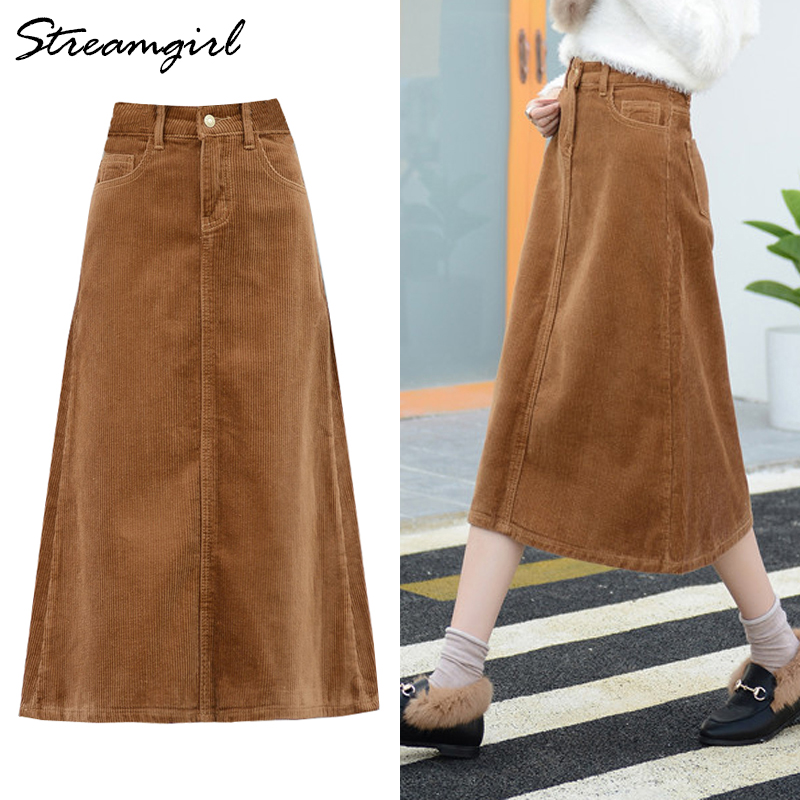 Long Corduroy Skirt Women Cotton Vintage Skirts For Women Long Winter Skirt Plus Size Corduroy A Line Skirts Womens Winter Warm