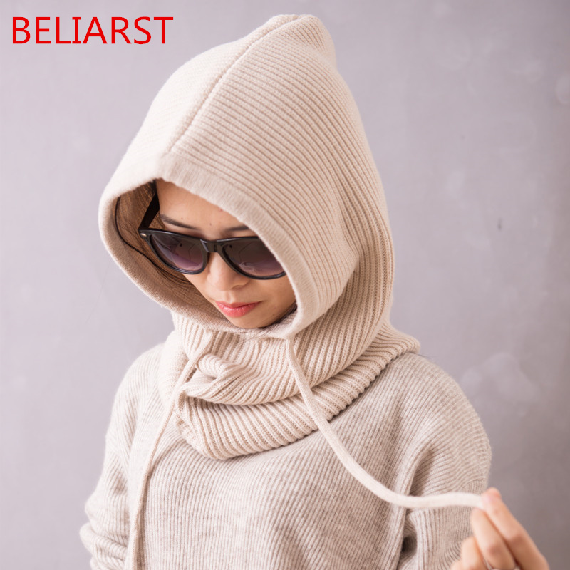 BELIARST Spring And Autumn New Woman Cashmere Wool Collar Hooded Dual-Use Thickening Hedging Neck Sleeve Warm Hat