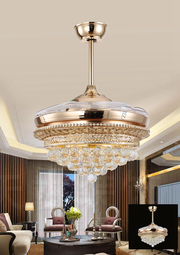 LED Crystal Ceiling Lights Fan Light Remote Control Stealth Fans Living Room Dining Modern Minimalist