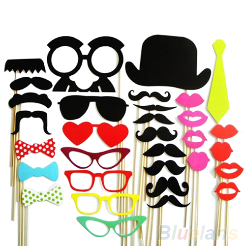 32Pcs DIY Photo Booth Props Mustache Lip Stick Wedding Christmas New Year Party Accessories 1OSQ 3RR4