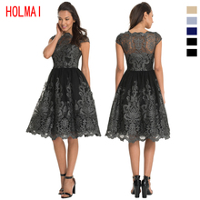 HOLMAI 2017 Summer Fashion Lace Embroidered Wedding Party Dress Sexy Women's  Elegant Vintage Ball Gown with 5 Colors
