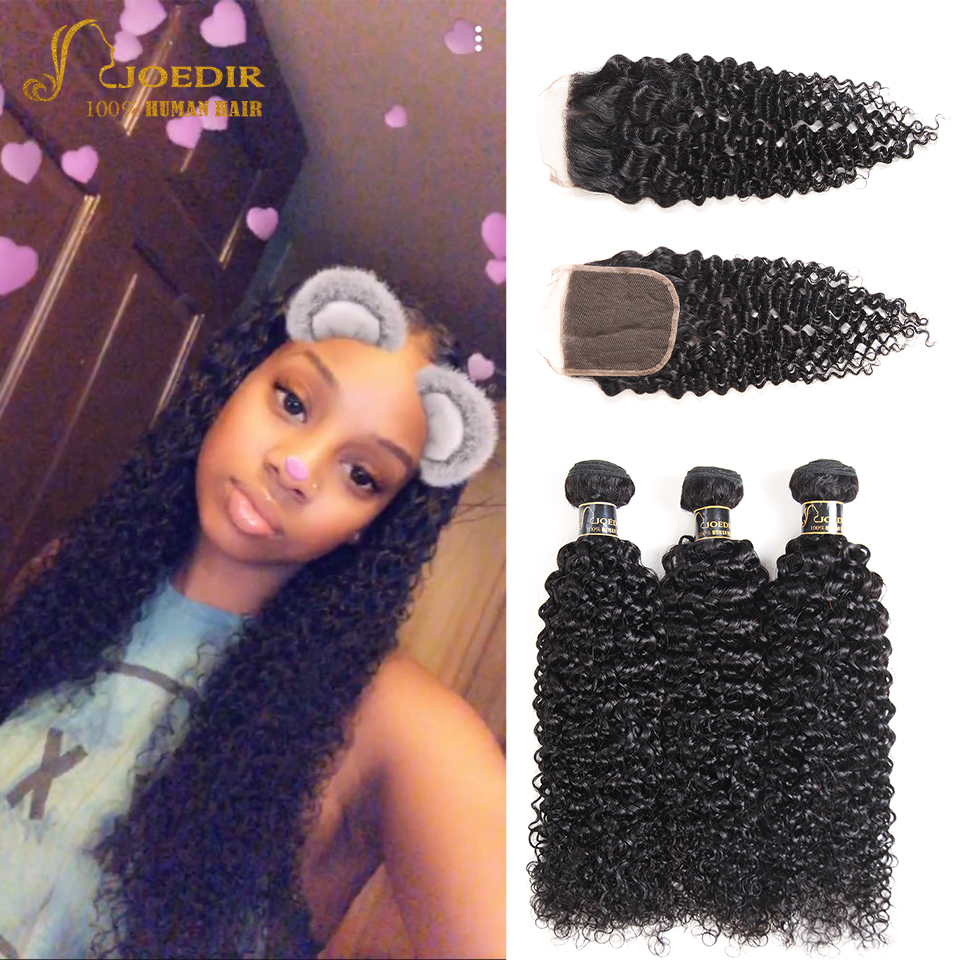 Joedir Hair Kinky Curly Bundles With Closure Indian Hair Weave 3 Bundles With 4*4 Lace C ...