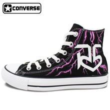 R5 Converse All Star Women Men Shoes Custom Lightning Design Hand Painted High Top Black Canvas Sneakers Birthday Gifts