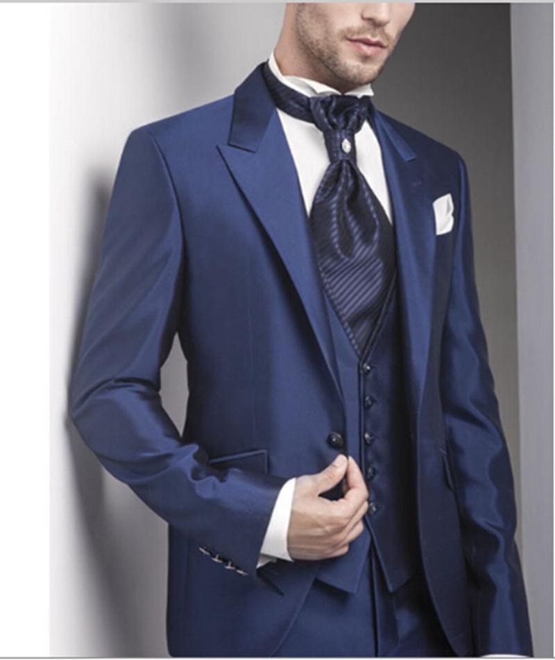 5 Peças (JacketVentPantTieHandkerchief) Atingiu O Pico Lapela One Button  Slim Fit Moda masculina Formais Ternos Traje Feito Terno Masculino 868ca13388