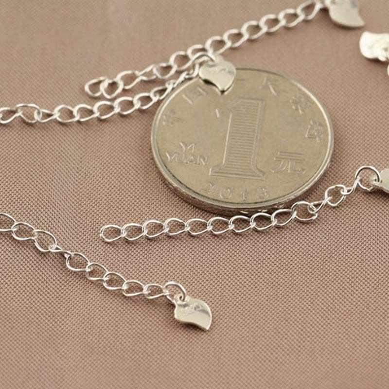 אמיתי אמיתי מוצק 925 כסף סטרלינג הארכת שרשרת צמיד מורחב זנב שרשרת לב תכשיטי אביזרי DIY ממצאי