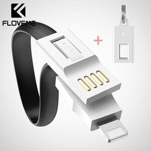 FLOVEME-Mini llavero con Cable Micro USB tipo C, Cable cargador de iluminación para iPhone y Samsung, accesorio portátil de Cable USB tipo C USB-C