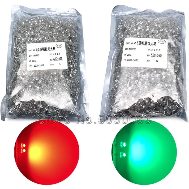 100pcs F5 5mm Green Straw Hat Superbright LED Light LED lamp NEW