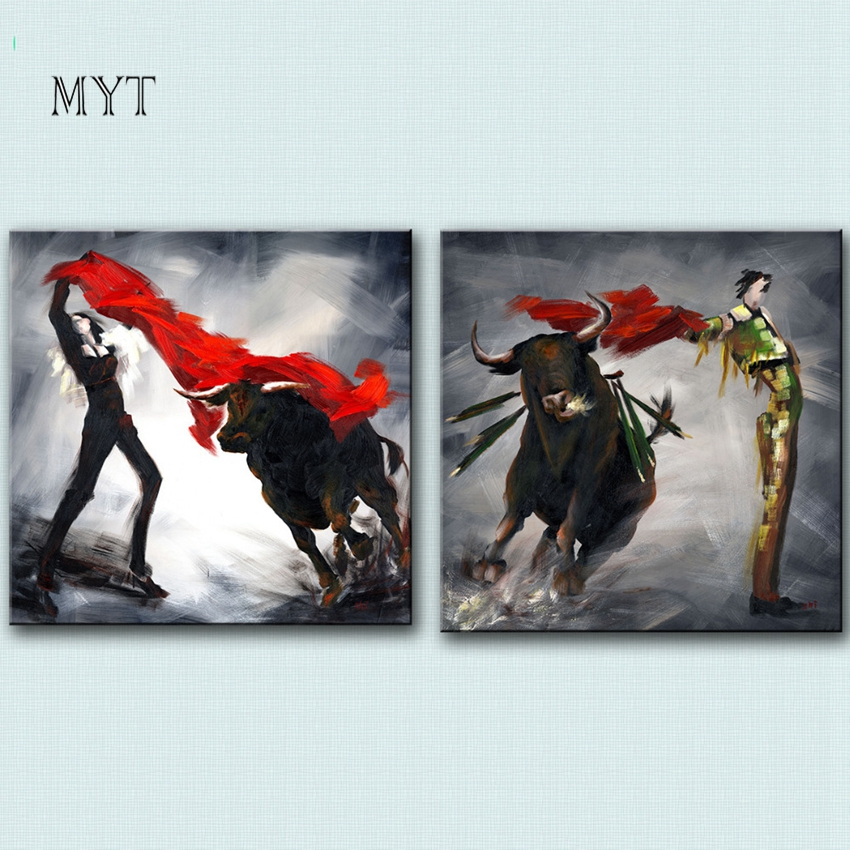Dropshipping Newest Handmade Bullfighting Oil Painting Unframed Wall Decor Canvas Art Living Room Decoration Paintings 2 Panels