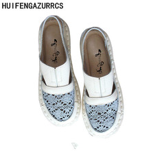 HUIFENGAZURRCS-Hot,2019 summer new pure handemade genuine leather leisure shoes,flat bottom breathable mesh shoes,3 colors