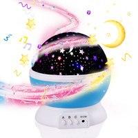 Ребенок проектор музыка ночник-проектор спин Звездное Star Master для маленьких сон романтический USB LED лампа проектора