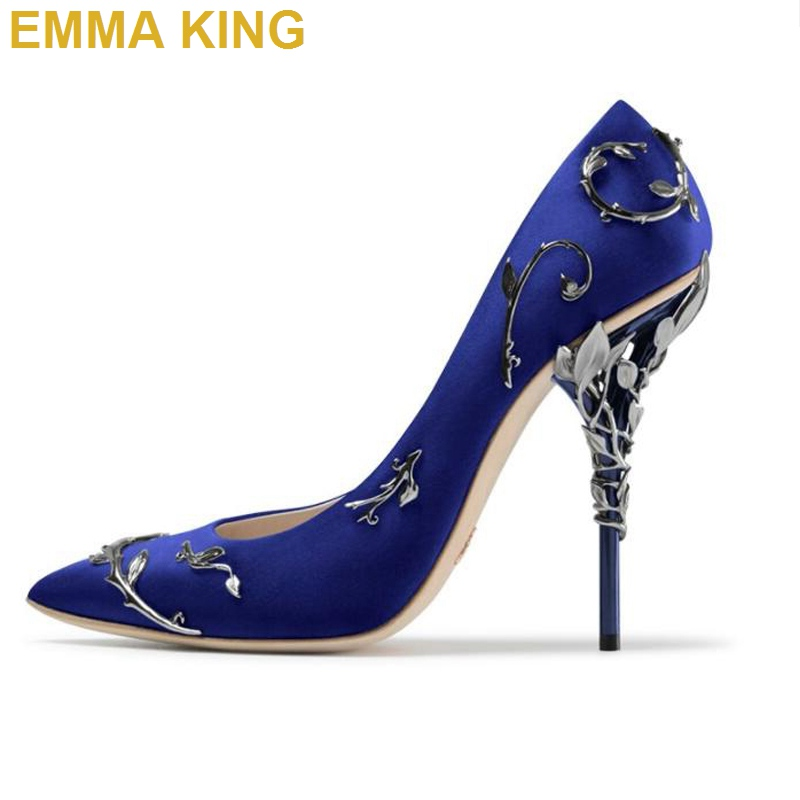 9e9c1a37abde EMMA KING Fashion Wedding Party Shoes Metal Decoration Stiletto Heel Sexy  Pumps Pointed Toe Shallow Shoes