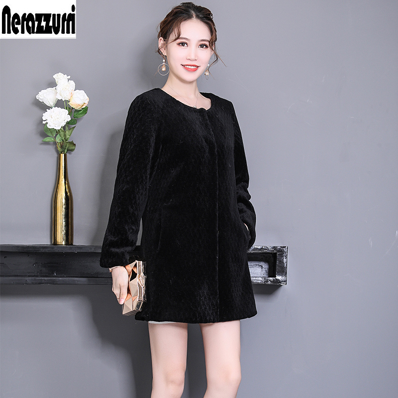 Nerazzurri Real fur coats for women 2019 winter black china real lamb fur jacket warm plus