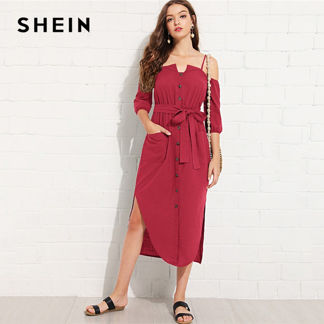96a0f9b7f5 SHEIN Burgundy Cotton Cold Shoulder Button Up Dress with Belt Casual  Elegant Knee Length High Waist Dresses Women Autumn Dresses