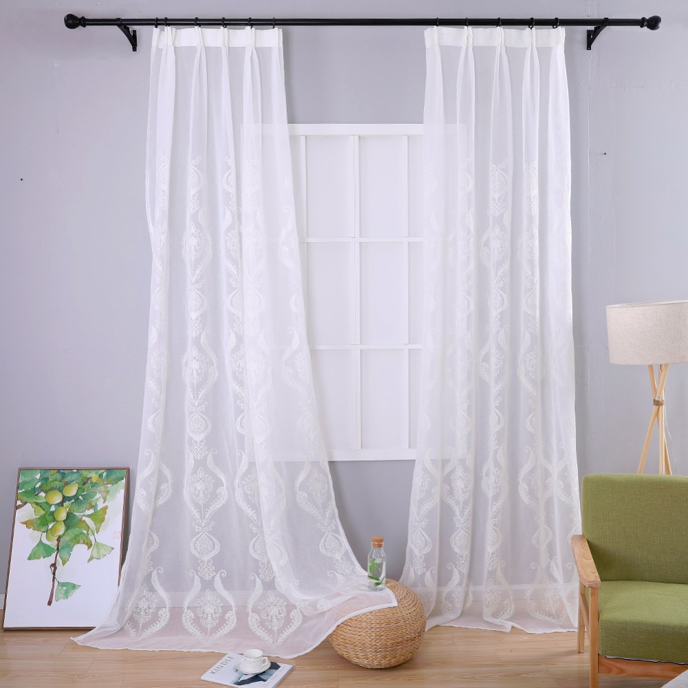 Embroidered window sheer white curtains fabrics tulle curtain window ...