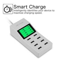 US UE UK Wielu 8 Porty Usb Ładowarka z Ekranem Lcd Dc woltomierz Inteligentne Ładowarka Ścienna dla Yotaphone 2 Doogee X5 S6 18650 Komórek telefon