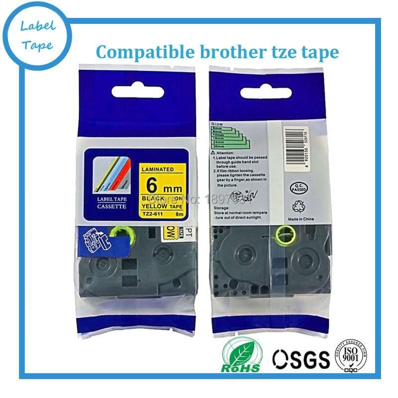 Free shipping 10pcs tz tape 6mm 8m tze 611 tze 611 tz611 tze611 compatible brother p