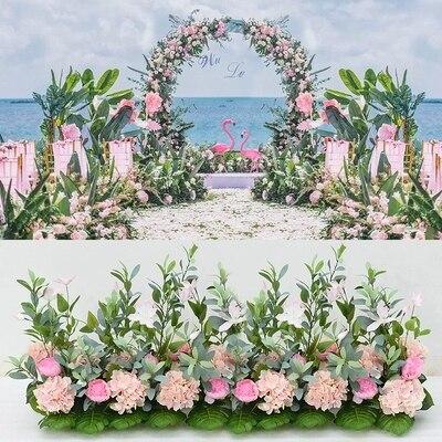 Ярко розовый свадебный павильон цветы полоски квадратный навес цветы строк свадебное украшение 80 см длинный проход цветок бегун пол Декор