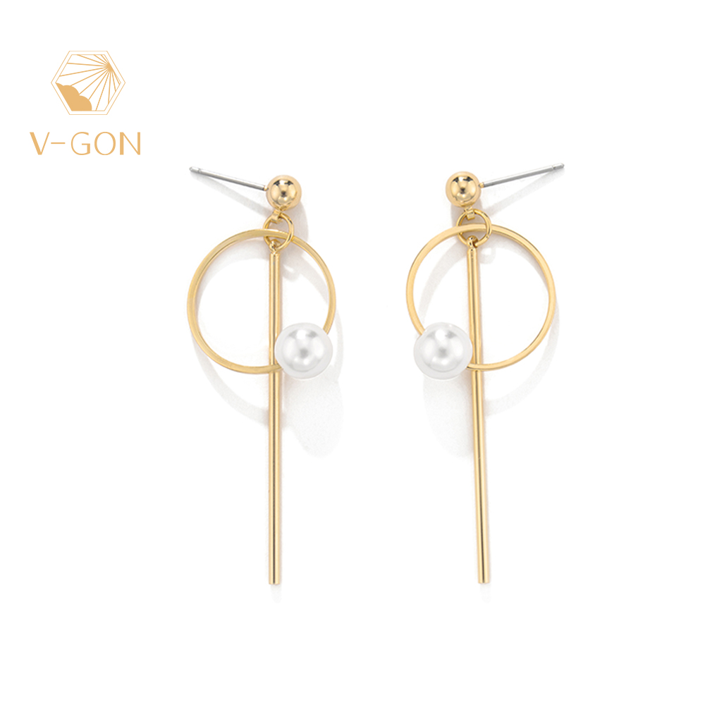 V-GON Simulated Pearl Gold Earrings 2019 For Women Geometric Round Drop Korean Design Jewelry V-DE0031