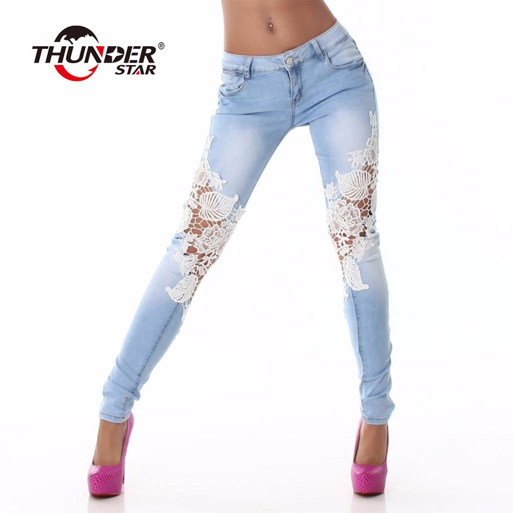 Thunder Star Mujer Moda Jeans Lace Hollow Out Skinny Jeans Mujer Denim Lapiz Pantalones Patchwork Pantalones Para Mujeres Ropa Mujer A544