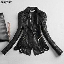 SWREDMI femmes veste en cuir 2020 nouveau mince mode dentelle couture en cuir vêtements femme S-3XL en cuir manteau hauts noirs