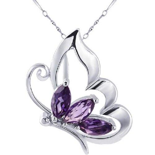 Ожерелье Qi xuan фиолетовый камень бабочка кулон ожерелье фиолетовый камень ожерелье Качество прямые ed производитель прямые продажи