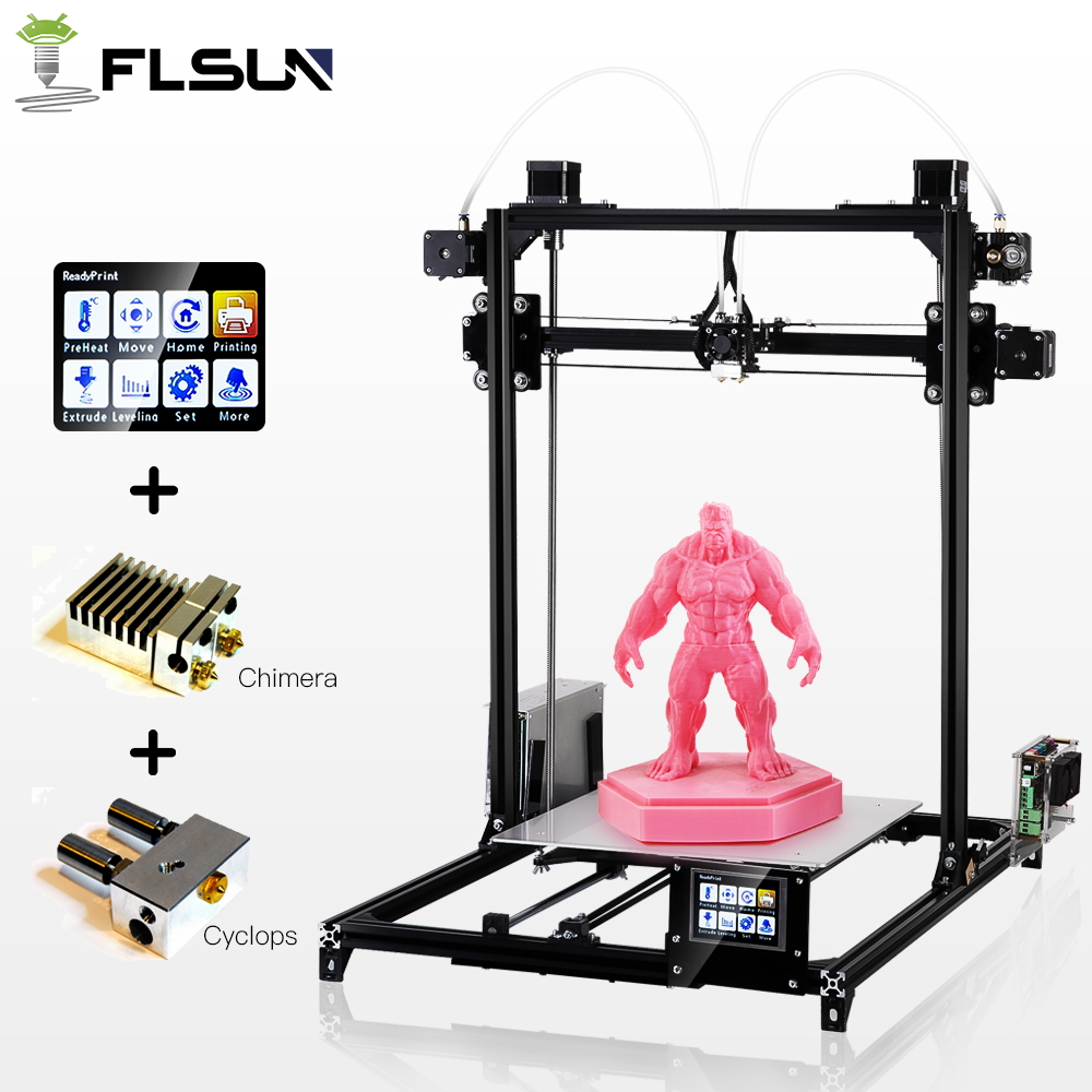 Flsun 3D Printer High Precision Large Printing Size 3D Printer Touch Screen Dual Extruder Heated Bed Two Rolls Filament Gift 2017 newest tevo tarantula 3d printer impresora 3d diy impressora 3d with filament micro sd card titan extruder i3 3d printer