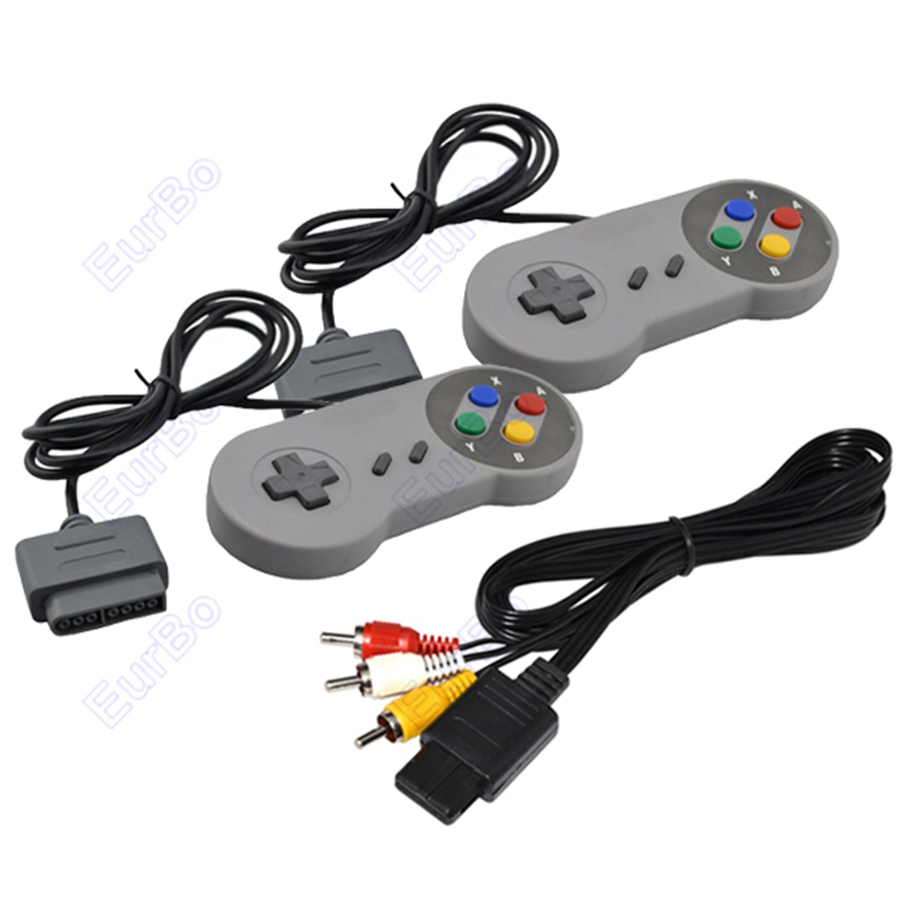 2pcs a lot Classic Color Button Style Game Controller With AV Cable for Super Nintendo for SNES