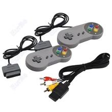2 pcs beaucoup Classique Couleur Bouton Style Jeu Contrôleur Avec AV Câble pour Super Nintendo pour le SNES