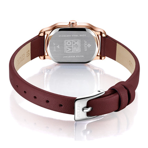 Image 4 - Julius Lady Retro Square Leather Woman Watch Casual Small Dial Quartz Wristwatches Female Dress Montre Femme Clock Gifts