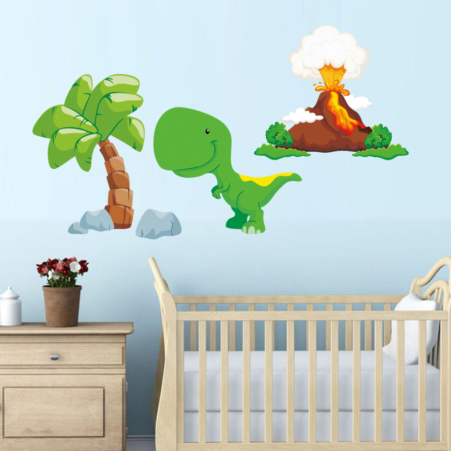 Lovely Cartoon Dinosaurs Wall Stickers PVC DIY Kids Room Colorful Nursery Home Decoration Wall Decals Backdrop Wallpaper