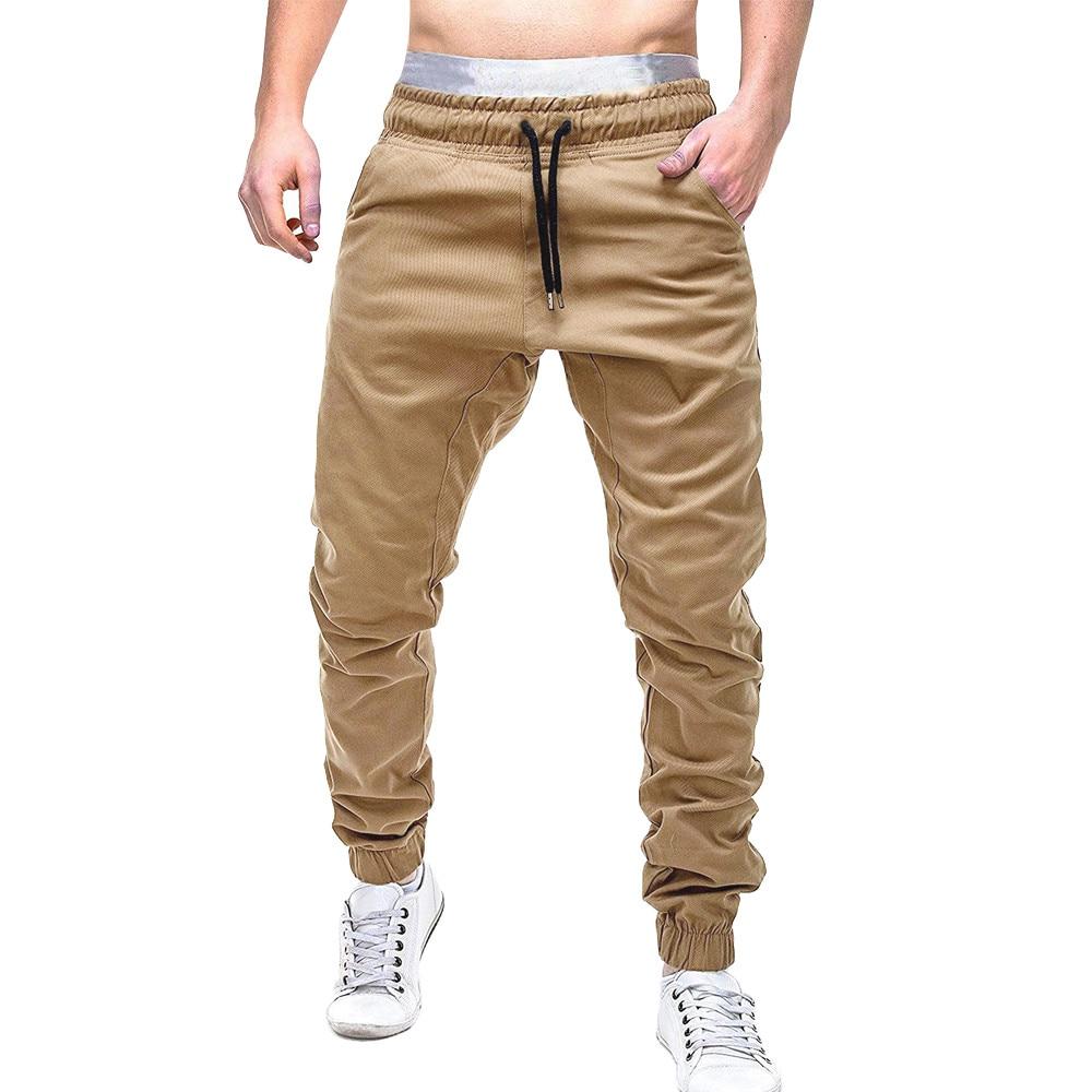 bfd7657368ce28 2019 Men Joggers Casual Sweatpants Fitness Pants Solid Elastic Trousers Men  Workout Pants Pockets Sweatpants