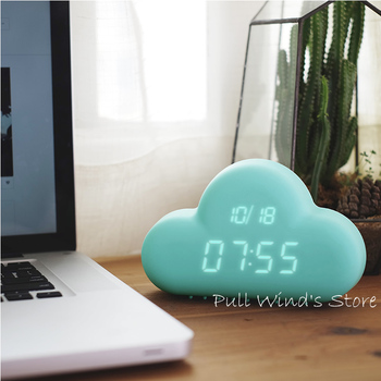 Creative clouds USB LED clock Sound Control Clouds small fresh alarm clock