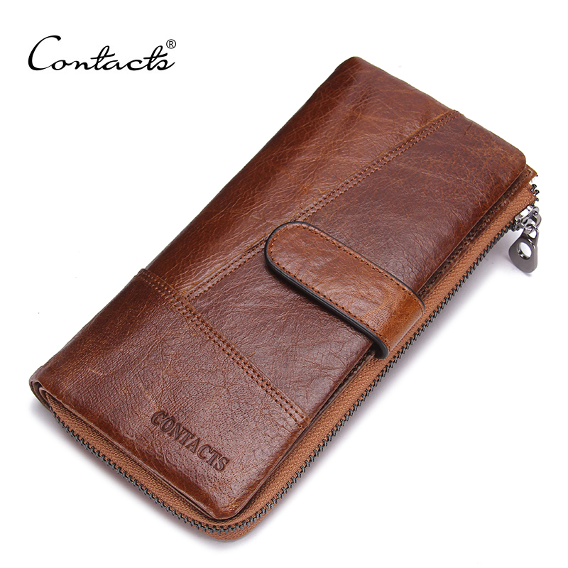 CONTACT'S New Fashion Genuine Leather Wallets Long Design Phone Purse With Zipper and Hasp Wallet for Coin bag & Card Holder new fashion women leather wallet deer head hasp clutch card holder purse zero wallet bag ladies casual long design wallets