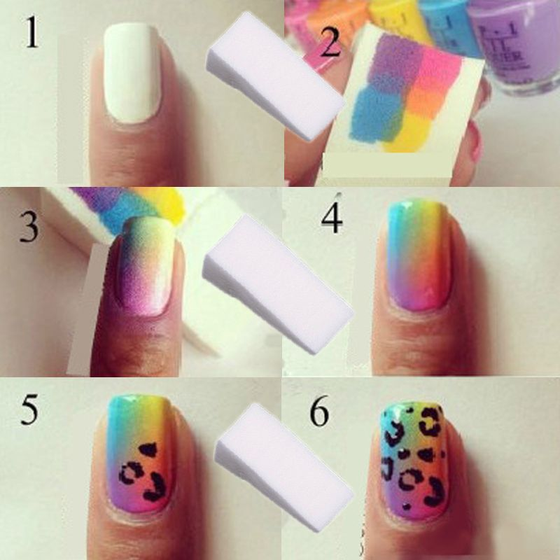 CLAVUZ 1pcs Gradient Nails Soft Color Fade Sponges Manicure DIY ...