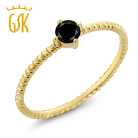 0 17 Ct Round Black Diamond 10K Yellow Gold Engagement Solitaire Ring