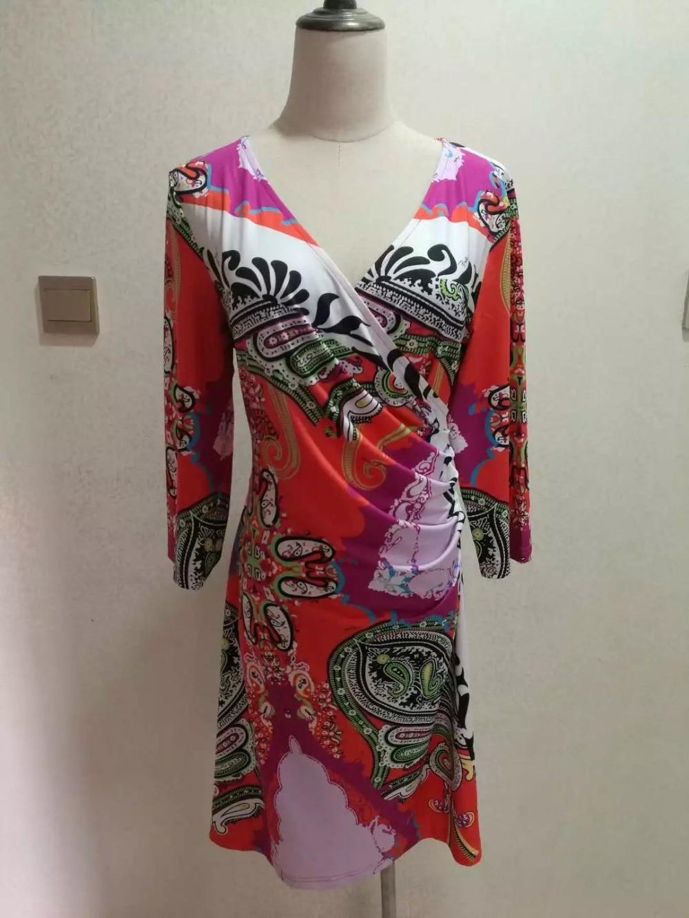 Colorati Jersey Delle Marca 4 Fashion Geometrica Maniche Dress Di Day Donne Nuovo Elasticizzato Spring 2017 Xxl Designer Stampa 3 Seta wq0nXzTC