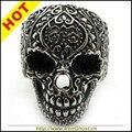 Moda la flor, caliente! Gothic Party Poker Skull negro anillo motorista de la roca de acero inoxidable regalo de la joyería