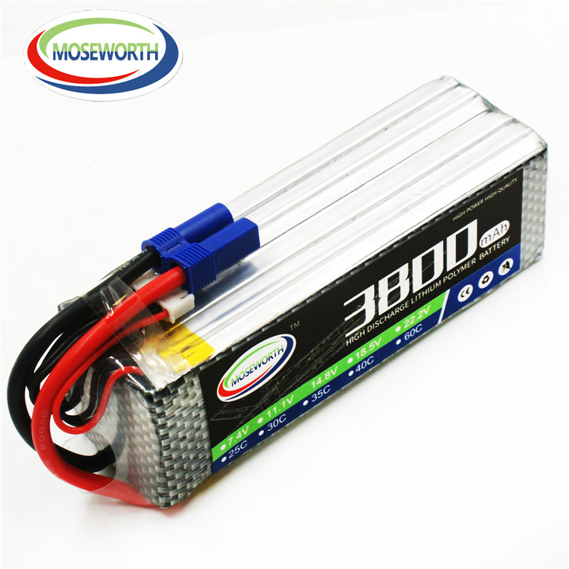 MOSEWORTH RC Drone Lipo battery 22.2V 6S 3800mah 40C-80C Li-ion Batteria for Airplane Helicopter Quadrotor AKKU