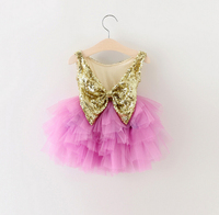 2016 mới trẻ em bé sequined lại Bow Tutu Dresses, gái hoàng tử màu tím dress 5 pcs/lote, bán buôn