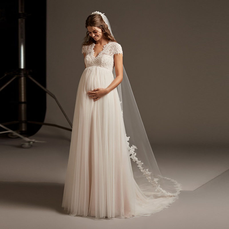Eightale Pregnant Wedding Dress V-Neck Appliques Empire Short Sleeve Chiffon Long Wedding Gowns Backless Bridal Dress 2019
