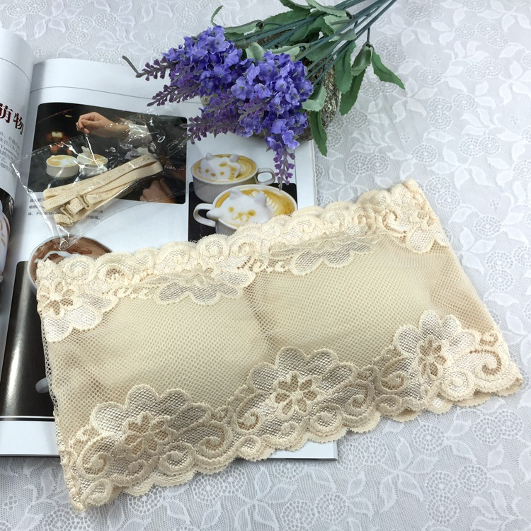Summer Style Strapless Bra Women's Sexy Casual Lace Tube Top Bandeau Short Tanks Seamless Underwear 1