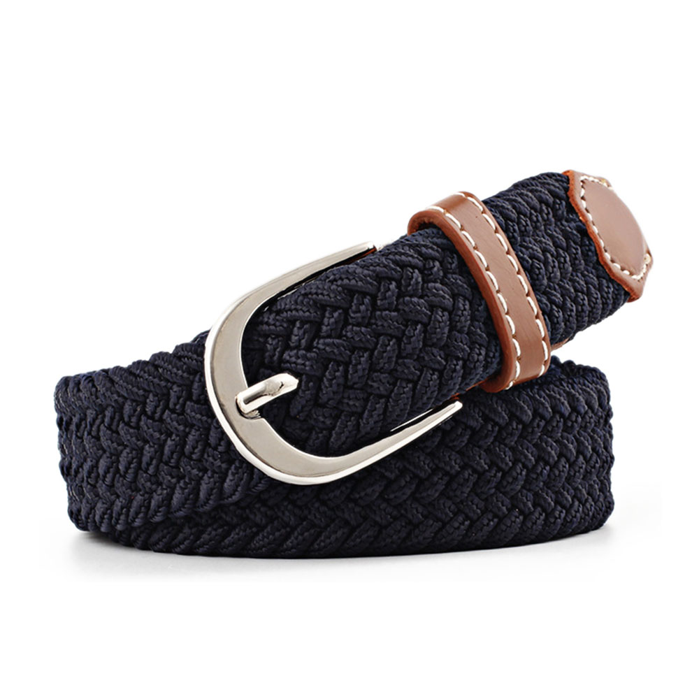 New1pcs Men Women Casual Knitted Pin Buckle Belt Woven Canvas Elastic Stretch Belts Plain Webbing 2019 Fashion 100-120cm